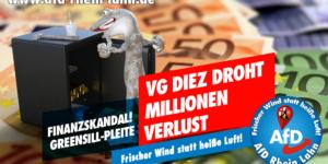 Ein Tresor wird von einem Monster ausgeraubt, der auf einem Stapel Euros steht