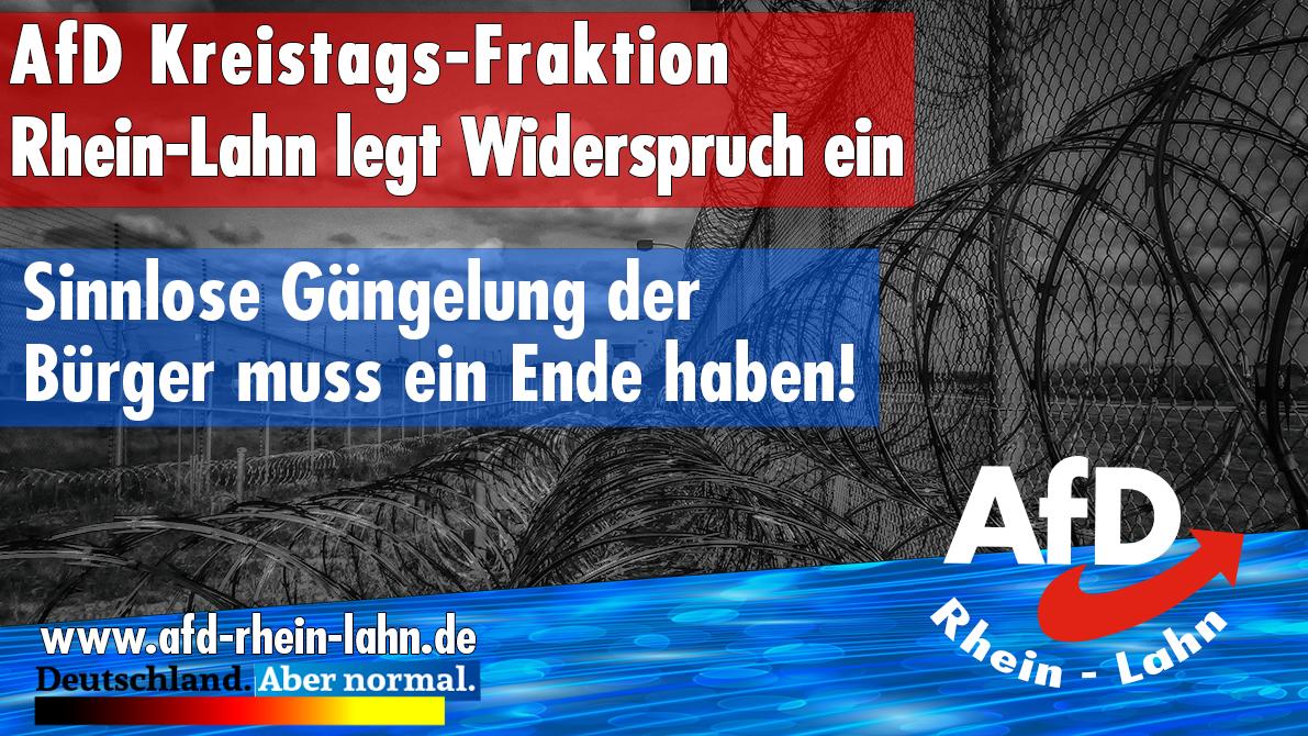 ehemaliger Grenzzaun der DDR mit Logo und Slogan der AfD Rhein-Lahn