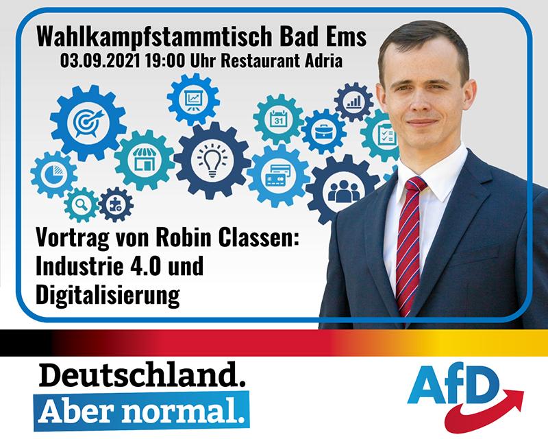 Ankündigung für den Wahlkampfstammtisch mit Vortrag von Robin Classen